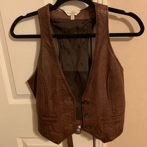 Abercrombie and Fitch leather vest size small